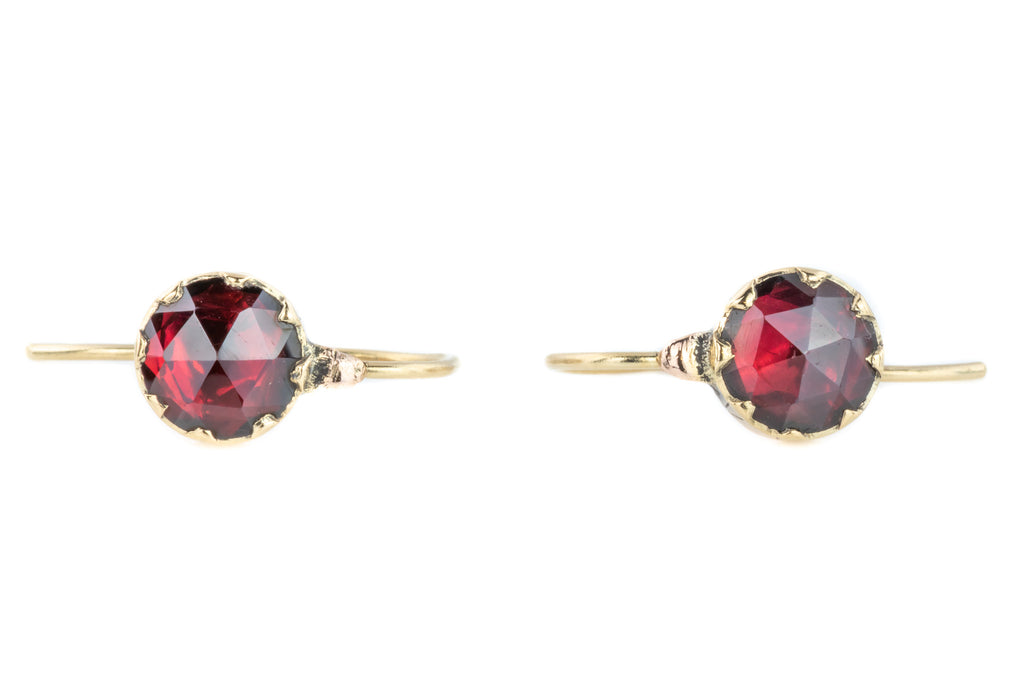 Georgian Garnet Earrings in 9ct Gold