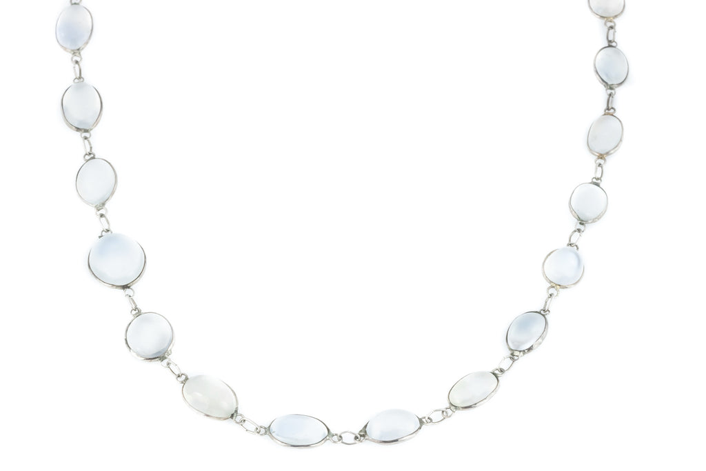 "Antique Silver Moonstone Necklace (27"" long)"