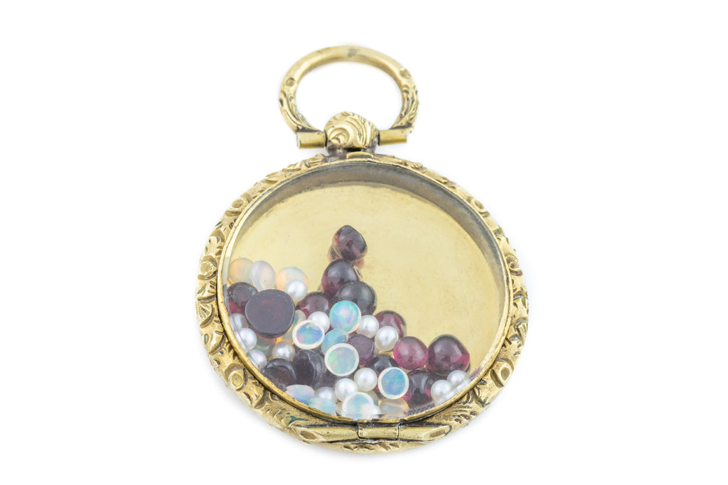 Antique Shaker Locket with Garnets, Opals & Pearls