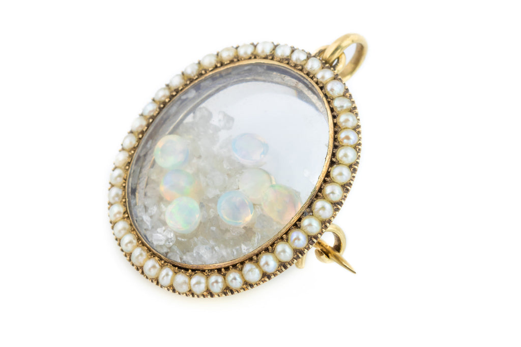 Georgian Pearl Locket with Opal and Rough Diamonds