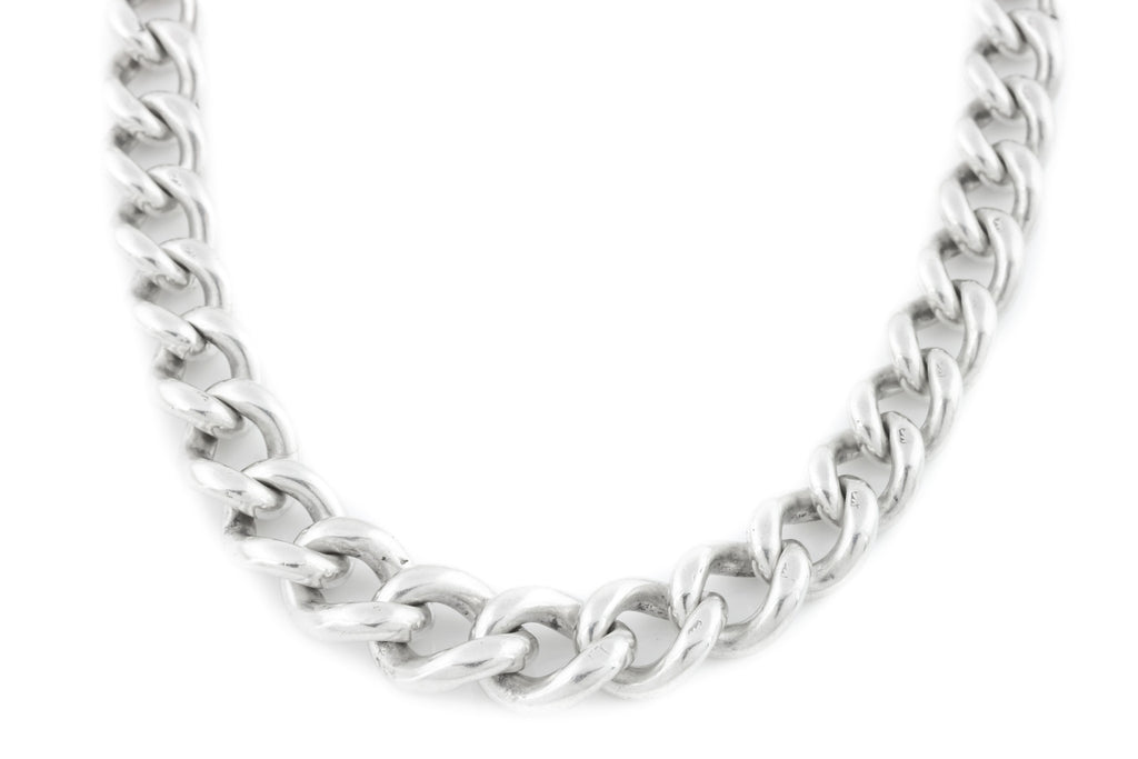 Antique Silver Albert Chain Necklace, 16.5""