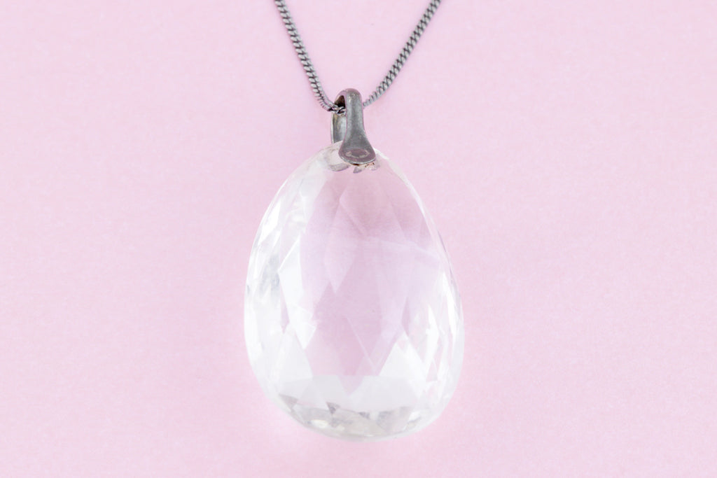 Art Deco Rock Crystal Pendant, with Chain (28.8ct)