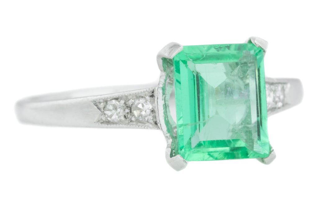 Colombian Emerald and Diamond Art Deco Platinum Ring (1.13ct)