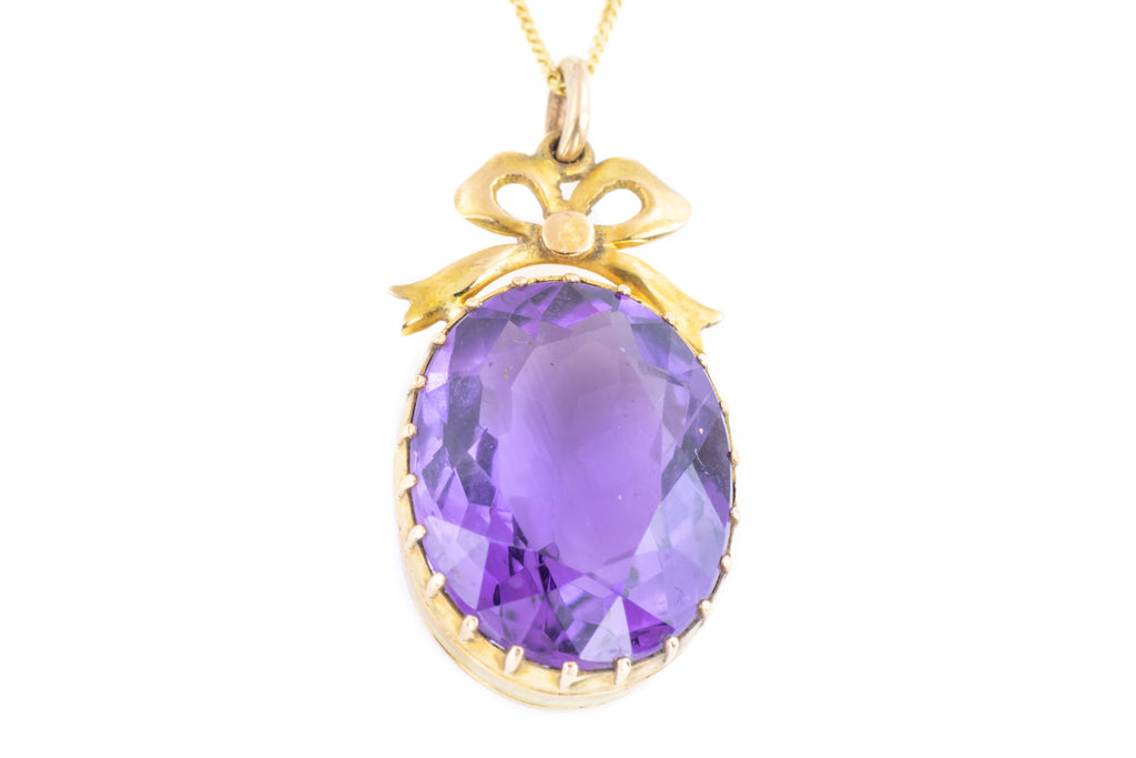 Edwardian Amethyst Pendant with Bow