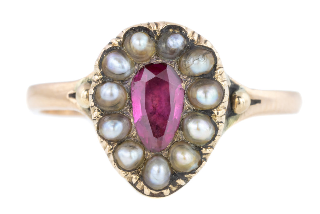 Georgian Garnet and Pearl Ring