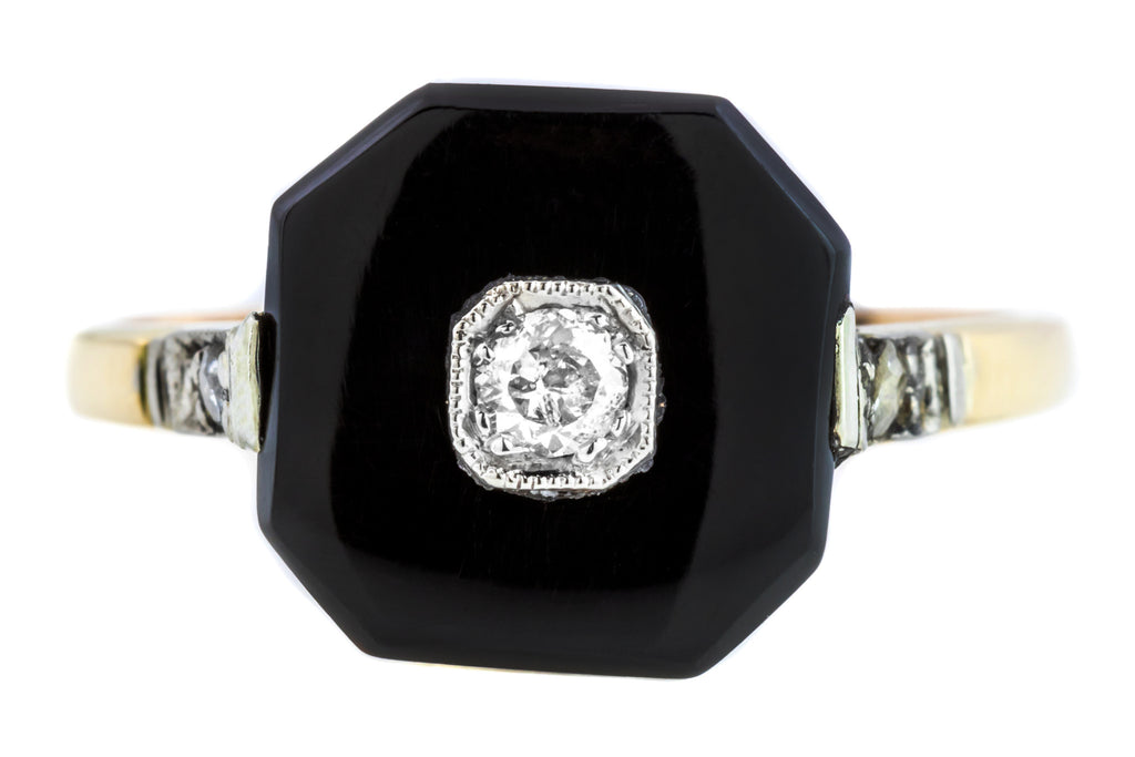 Art Deco 18ct Gold Onyx and Diamond Square Panel Ring (0.15ct)