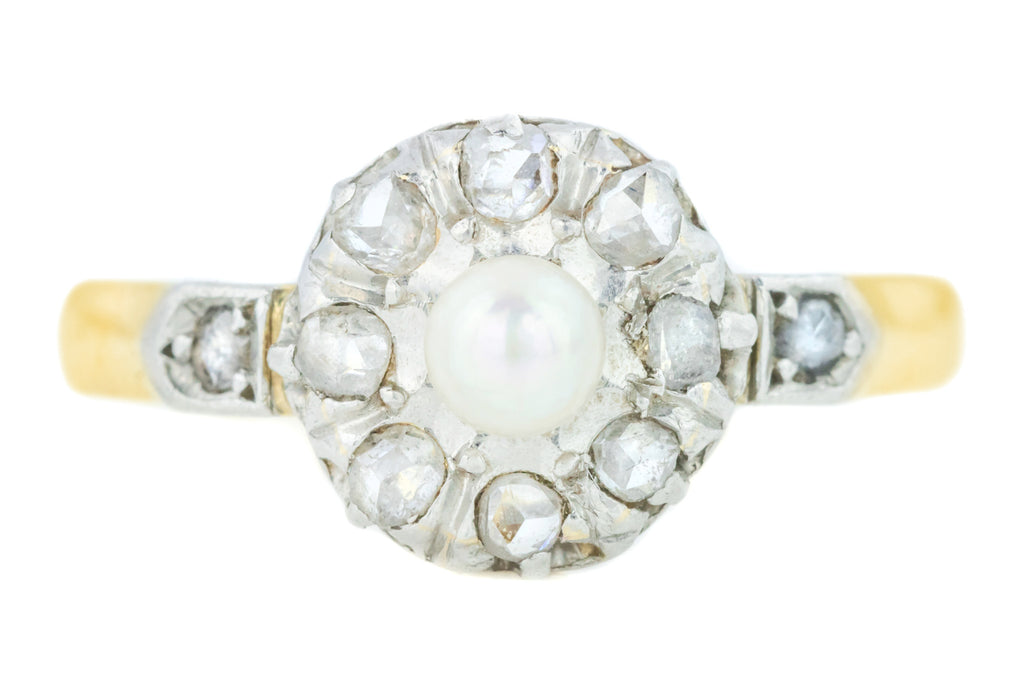 Antique French Pearl and Diamond Cluster Ring (0.25ct)