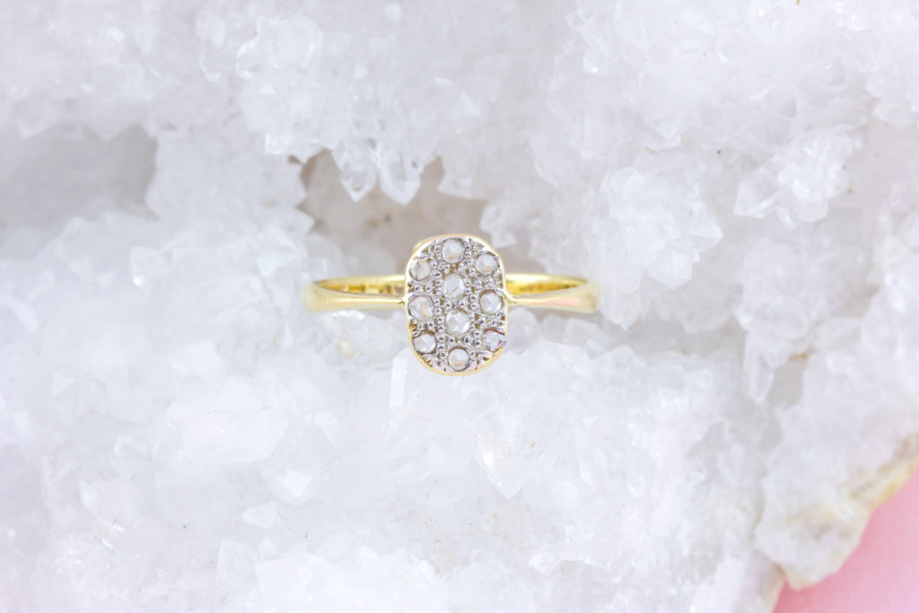 18ct Gold and Platinum Art Deco Diamond Cluster Ring