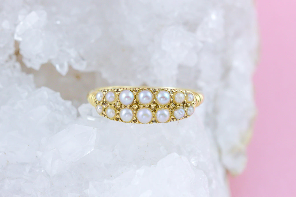 Victorian Pearl Ring in 18ct Gold