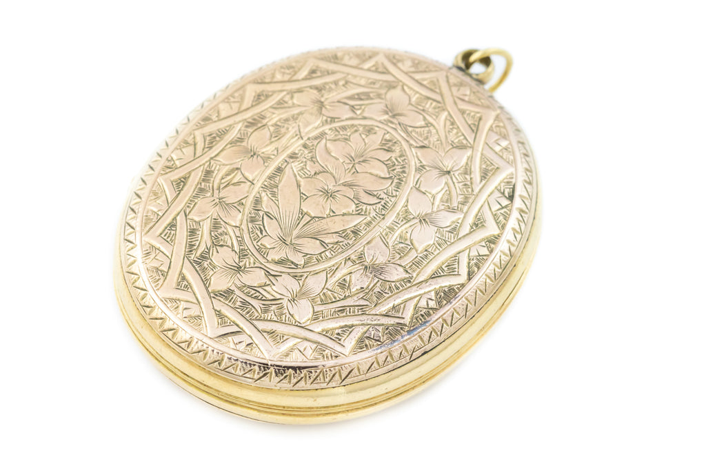 Antique 9ct Gold Oval Locket with Sweet Floral Engravings