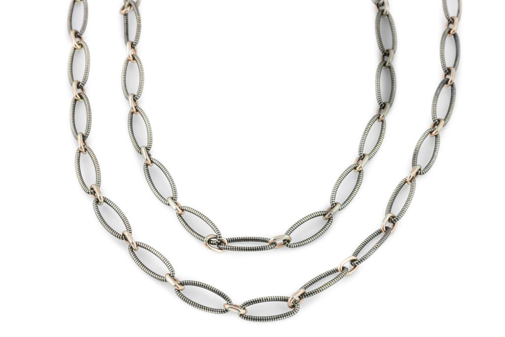 Victorian Niello Chain Necklace, 56""