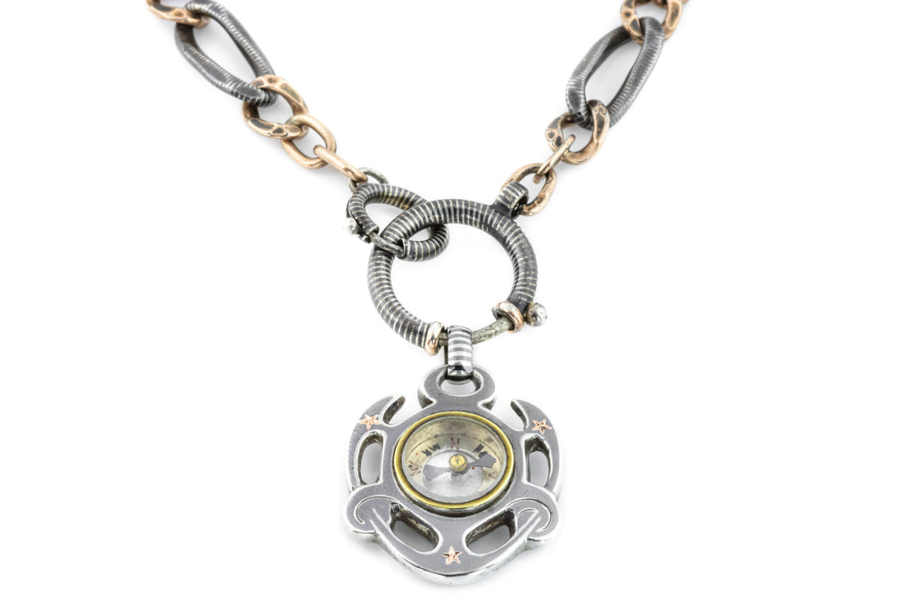 Victorian Niello Chain Necklace with Compass