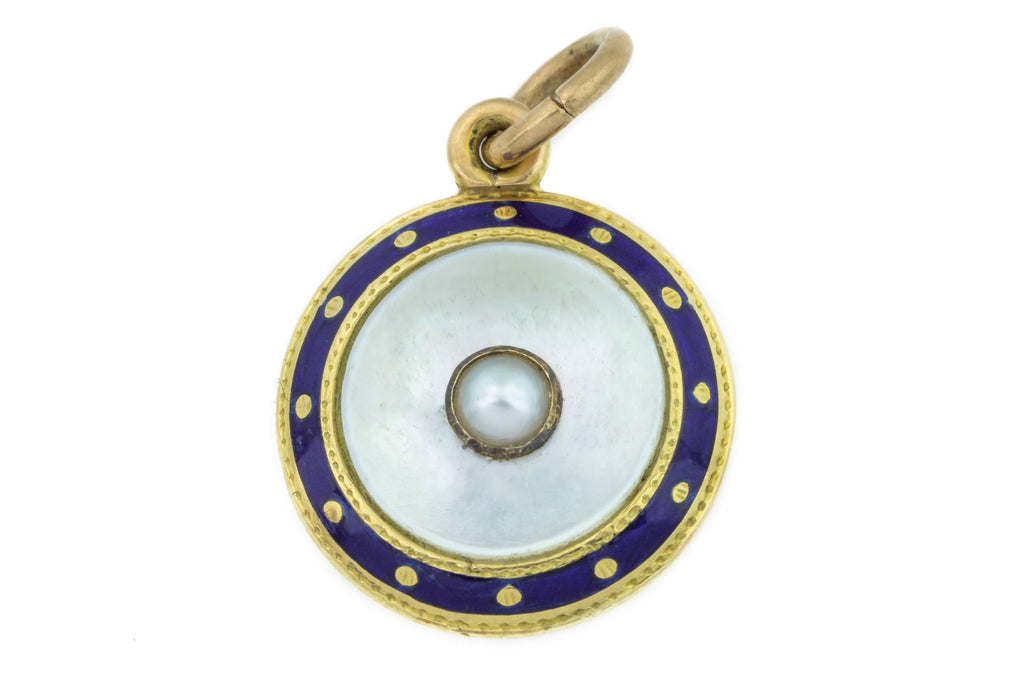 Antique Pearl and Enamel Round Pendant in 9ct Gold