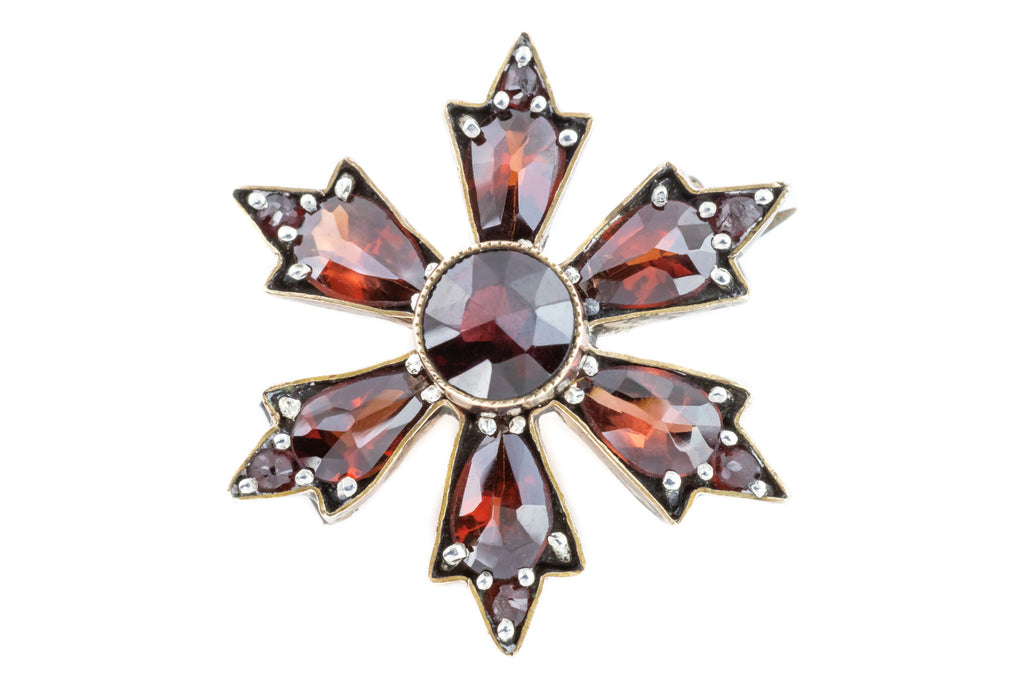 Victorian Rose Cut Garnet Brooch (2.6ct)