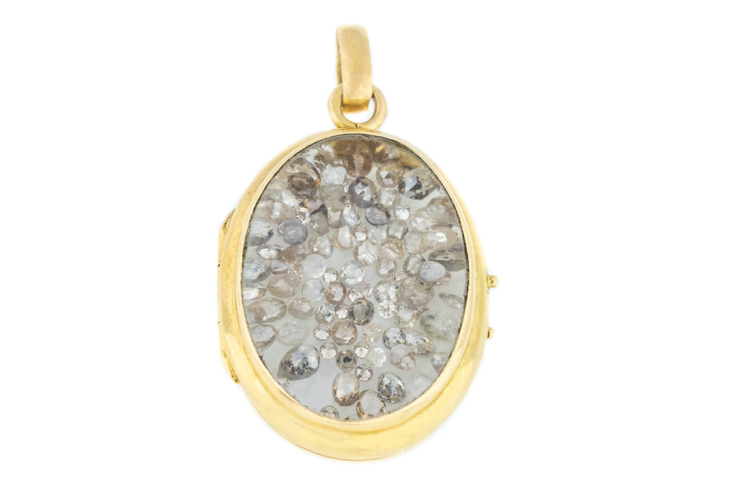 Antique French 18ct Gold Locket with Rough Diamonds