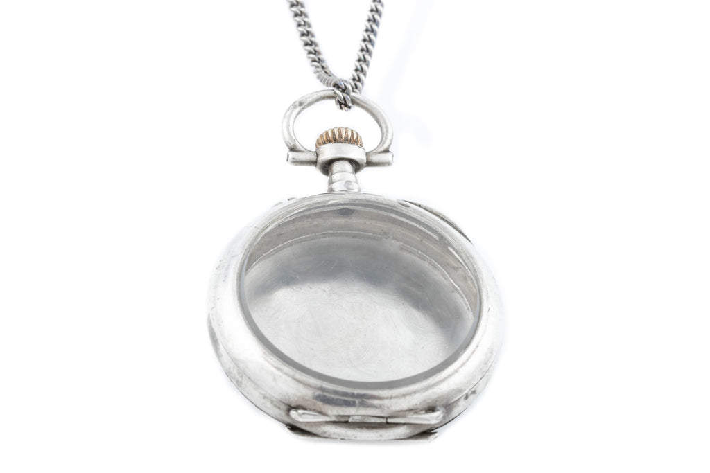 Antique French Silver Locket, with Chain