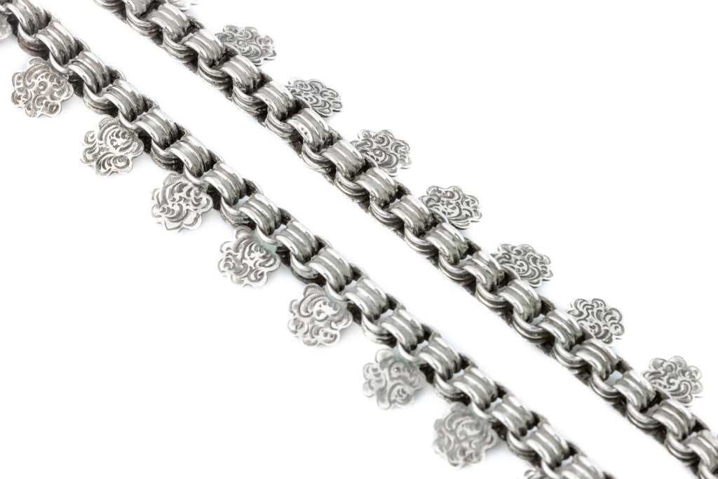 Antique Silver Coin Book Chain Necklace
