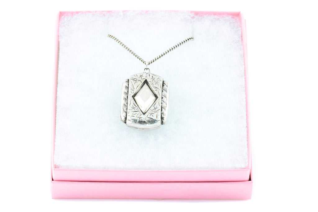 Victorian Silver Rectangular Locket with Chain c.1880