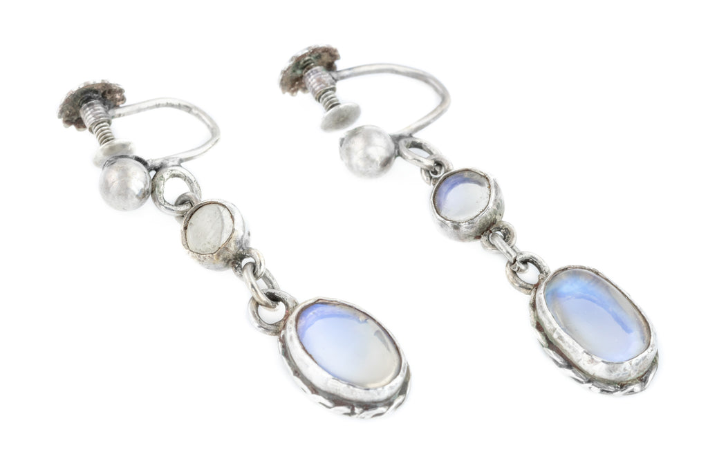 Antique Moonstone Silver Screw-back Drop Earrings