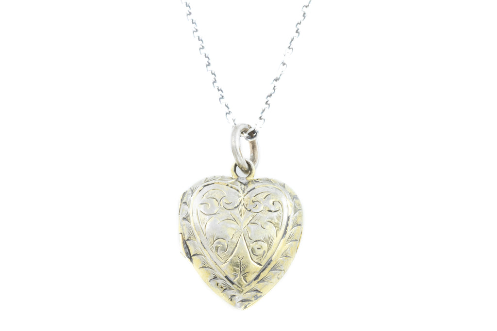Antique Silver Heart Repousse Locket with Chain c.1893