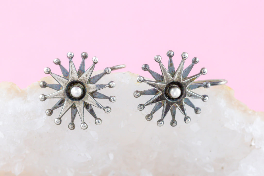 "Victorian Silver ""Starburst"" Earrings c.1880"
