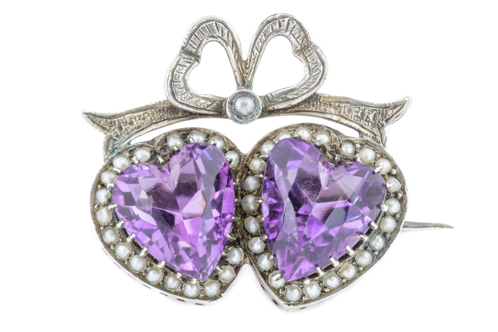 Edwardian Amethyst Heart Brooch  (6.8ct)