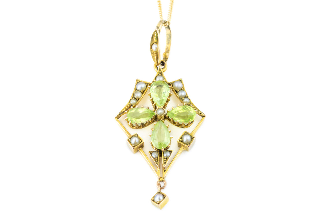 Art Nouveau Peridot and Pearl Pendant c.1890