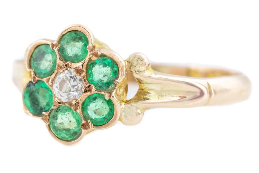 9ct Gold Antique Emerald Diamond Cluster Ring c.1917