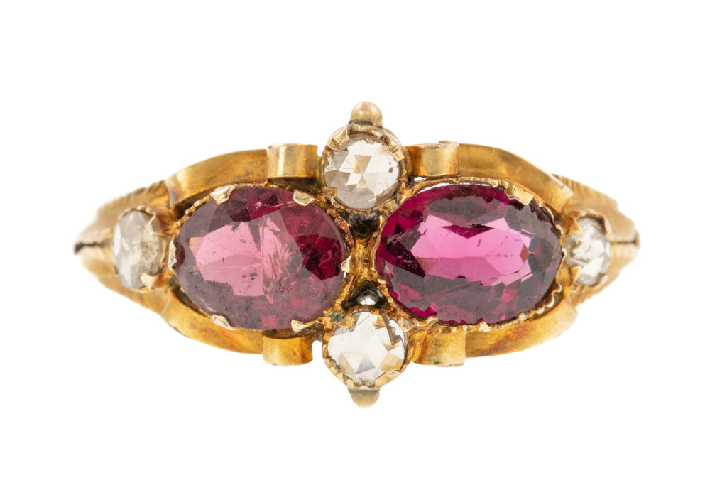 Antique Garnet and Diamond Ring c.1840