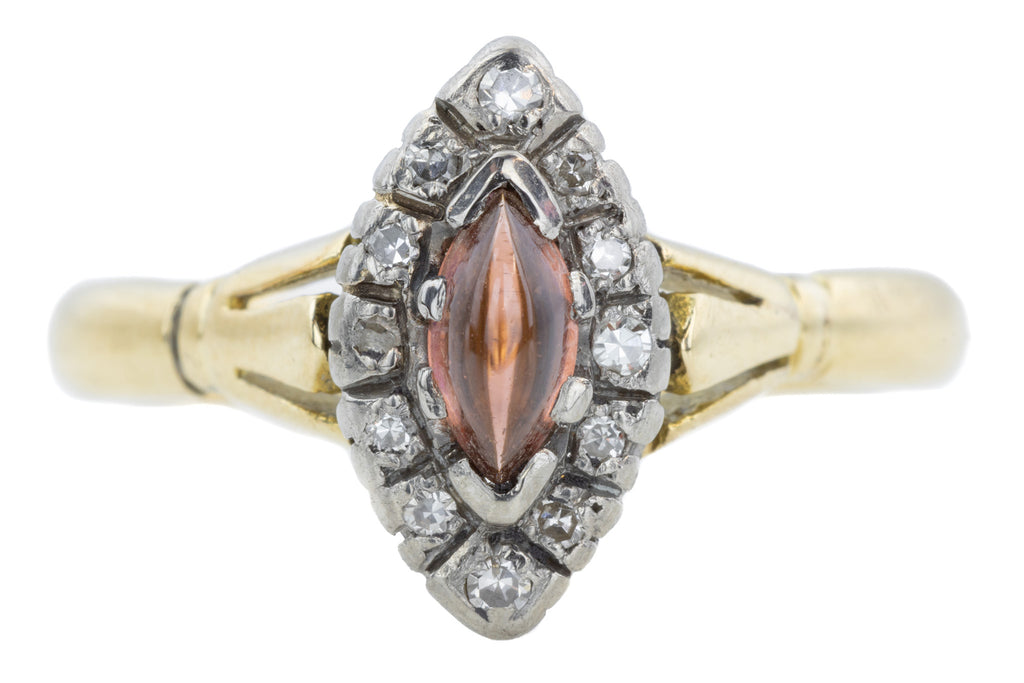 Antique Garnet Marquise Diamond Cluster Ring