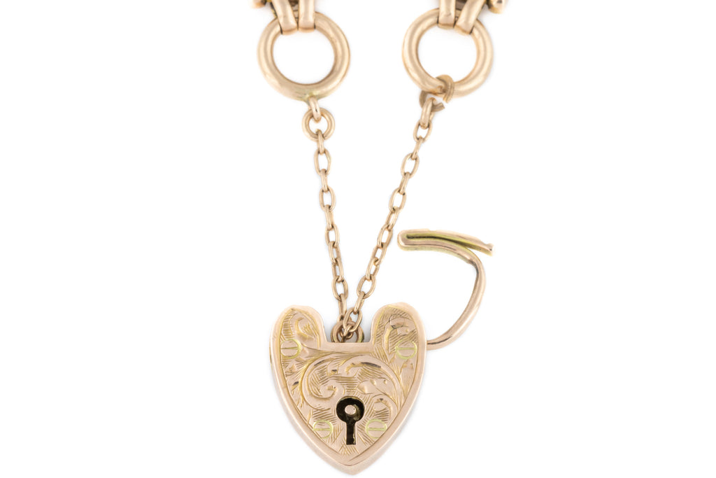 Antique 9ct Gold Gate Bracelet with Heart Padlock (18g)