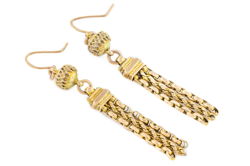 9ct Gold Etruscan Style Victorian Tassel Drop Earrings