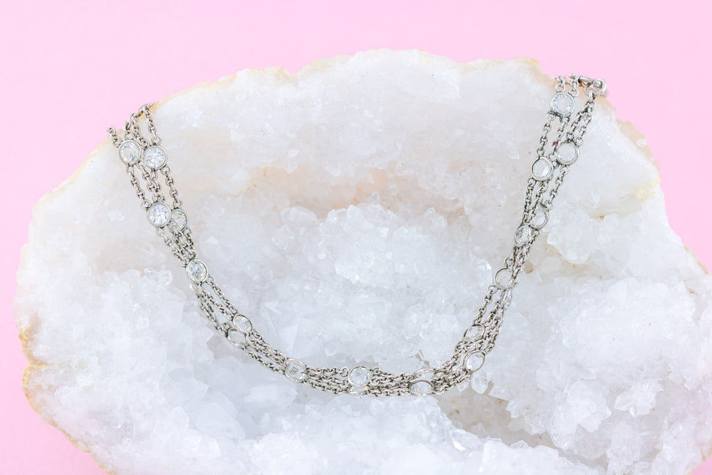 Art Deco Rock Crystal Diamonds By the Yard Necklace