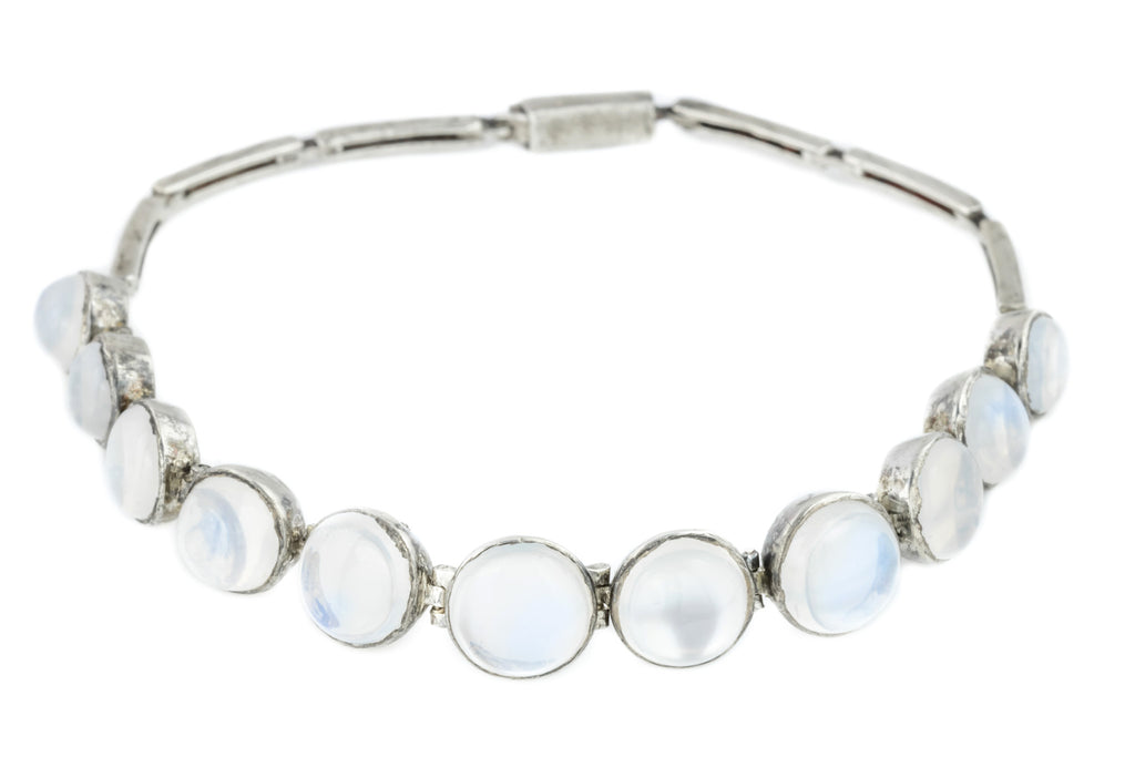 Antique Silver Moonstone Bracelet