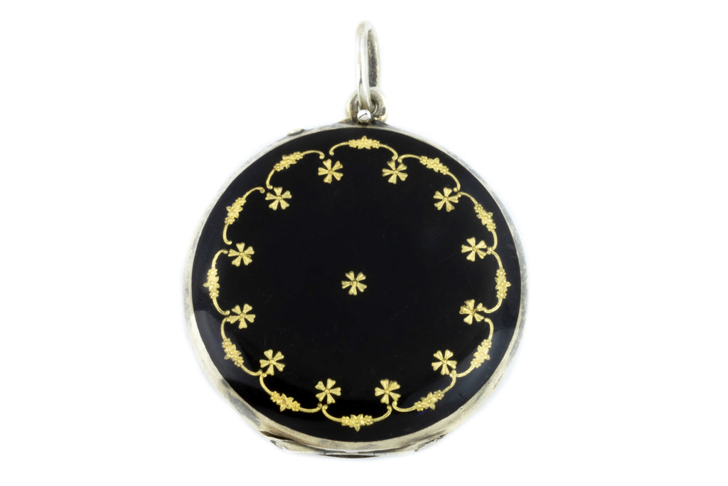 Art Nouveau Enamel Locket - Black Enamel Silver Locket