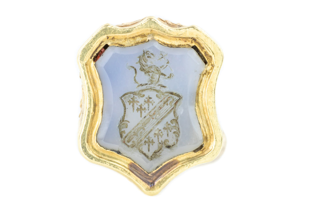 Antique 9ct Gold Fob Pendant with Chalcedony Heraldic Crest