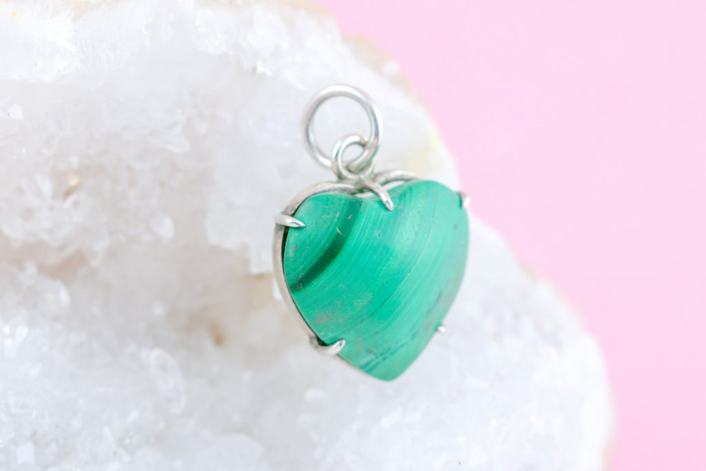Antique Malachite Heart Charm Pendant