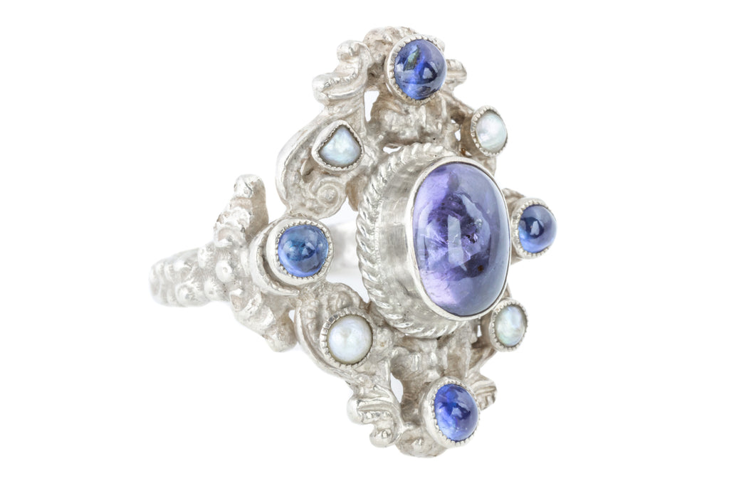 Austro-Hungarian Amethyst Sapphire and Pearl Ring