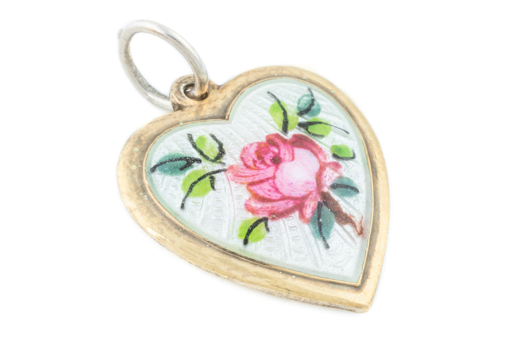 "Art Nouveau Enamel Heart Pendant, with 16"" Chain"
