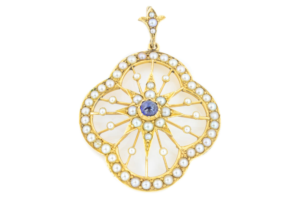 Edwardian Sapphire and Pearl Pendant in 15ct Gold