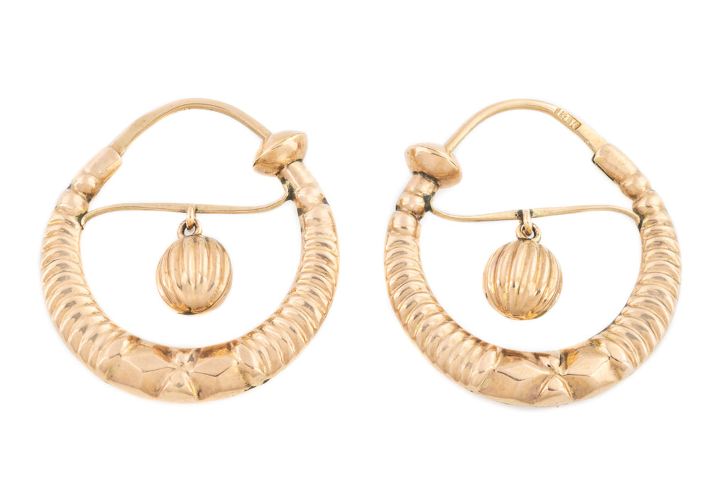 "Antique ""Poissarde"" Hoop Earrings c.1880"