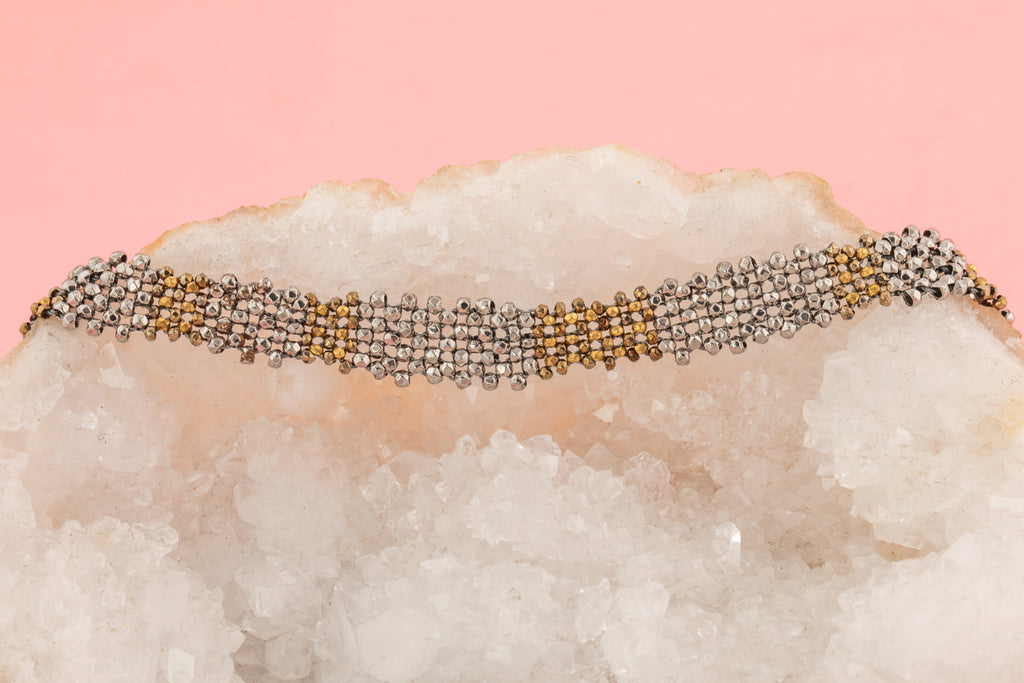 Georgian Cut Steel Bracelet with 9ct Gold Clasp