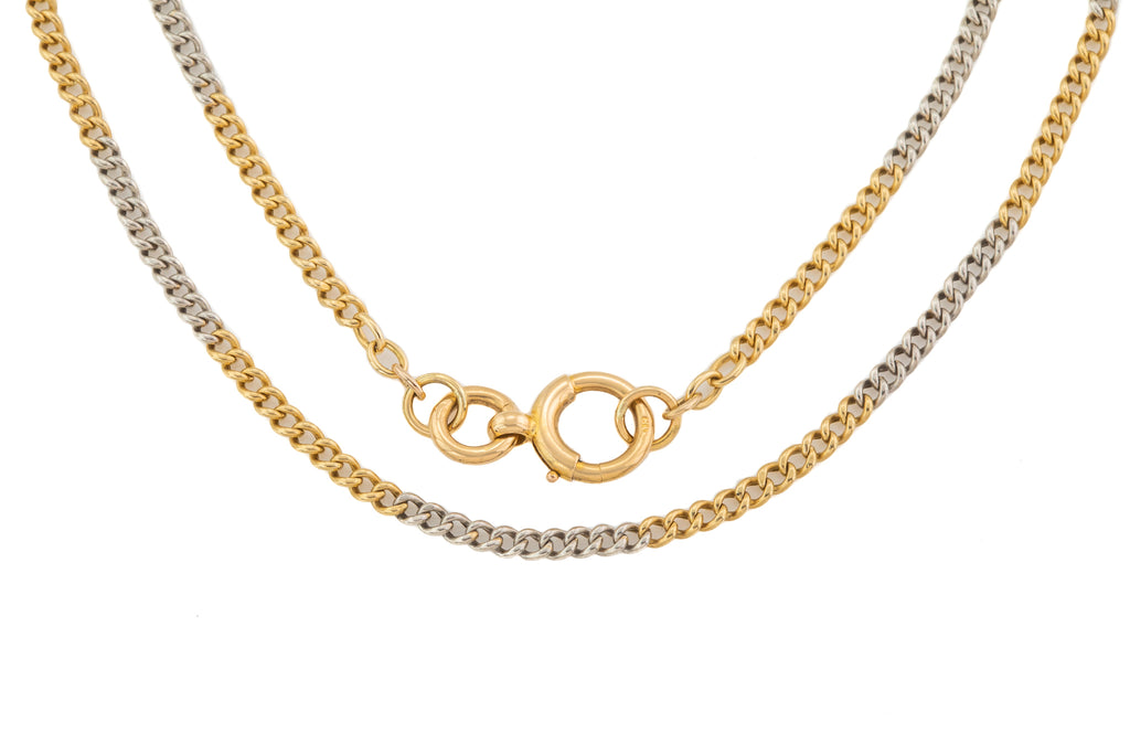 "Antique 17"" 18ct Gold Platinum Curb Chain (11.2g)"