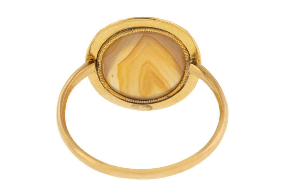 Victorian 18ct Gold Agate Oval Ring