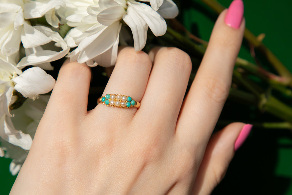 Victorian 18ct Gold Pearl Turquoise Ring