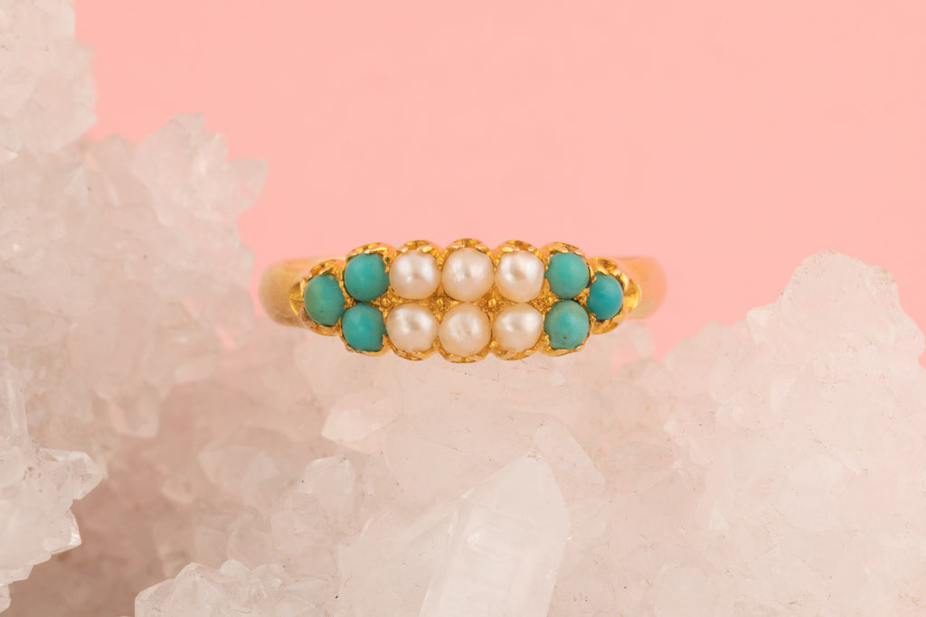 Victorian Pearl and Turquoise Ring
