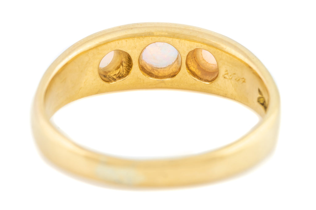 Antique 18ct Gold Opal Trilogy Ring