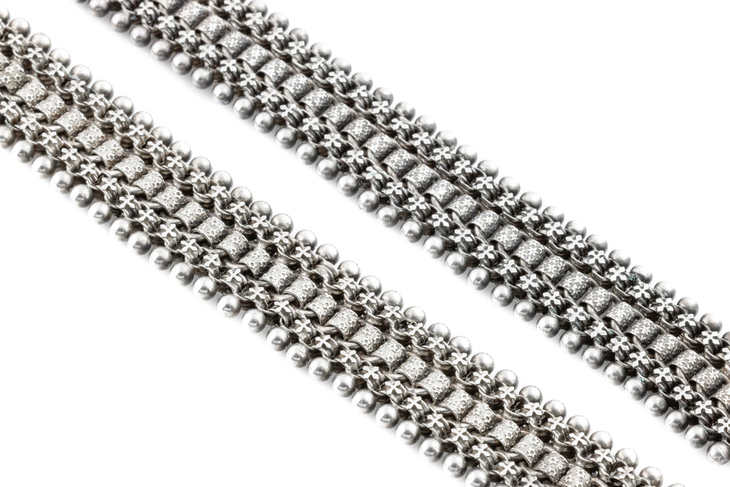 Victorian Aesthetic Silver Bracelets and Choker c.1882
