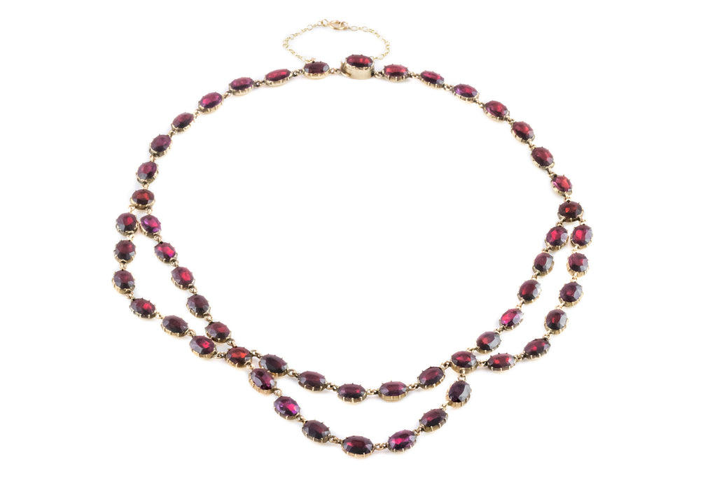 Georgian Garnet Rivière Necklace in 9ct Gold - 65.4ct