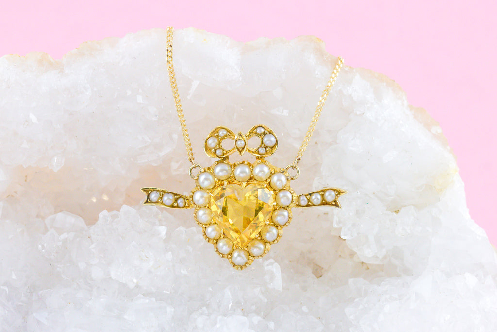 "Edwardian Citrine Pearl Heart Pendant (2.54ct), 16 & 1/2"" Chain"